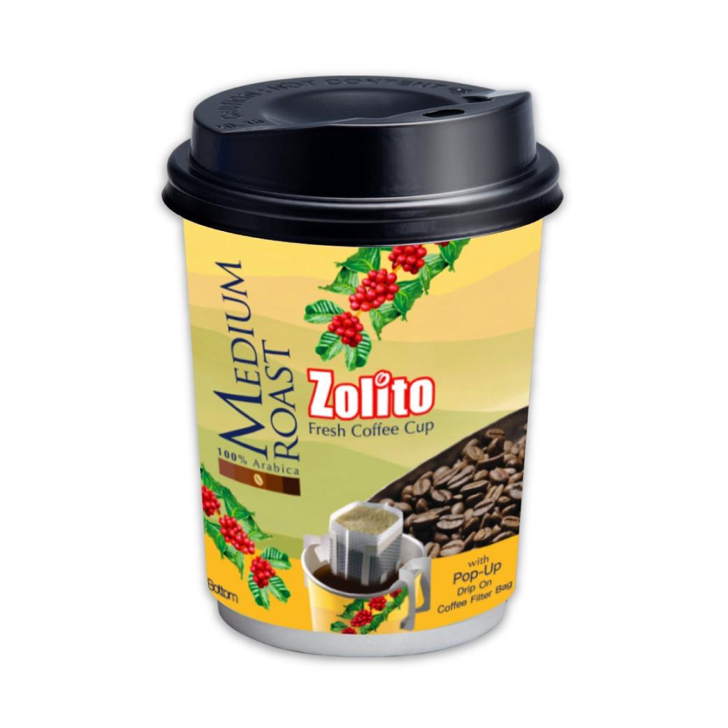 Zolito Fresh Coffee Cup Medium Roast 1 carton : 24 Cup